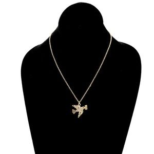 J. CREW homing pigeon brass pendant necklace NWT